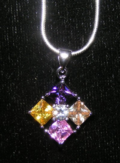 Silver/Multi Colored Bogo Free Gemstone Pendant Free Shipping Necklace