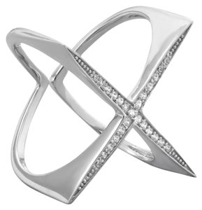 Sterling Collections Rhodium Plated Flat Top CZ