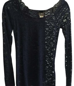 Free People Lace Long Sleeve Top Navy