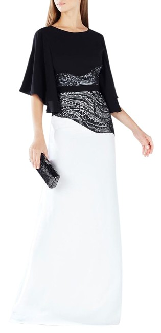 Item - Black/White Black/White Elayna Embroidered Lace Applique Gown Long Night Out Dress Size 6 (S)