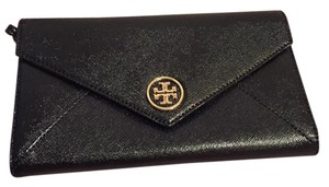 Tory Burch Robinson Envelope Wristlet Black Clutch