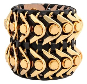 Balmain Large Black Ariadna Leather Cuff Bracelet