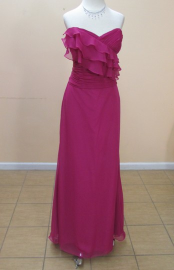 Eden Fuchsia Chiffon 7354 Formal Bridesmaid/Mob Dress Size 12 (L)