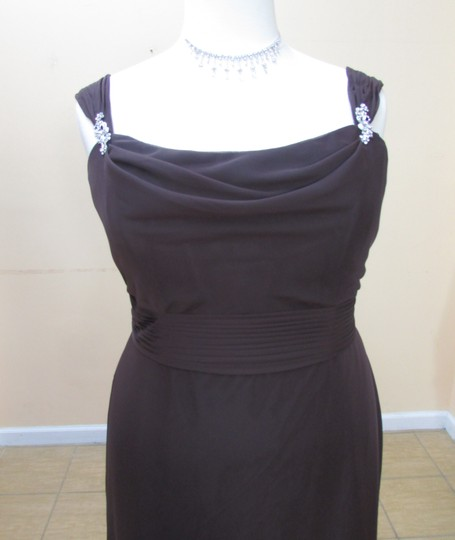 Eden Chocolate Chiffon 7355 Formal Bridesmaid/Mob Dress Size 18 (XL, Plus 0x)