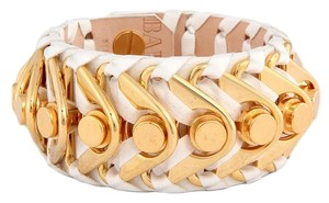Balmain Small Off White Ariadna Leather Cuff Bracelet
