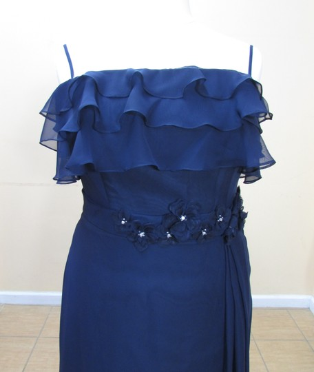 Eden Navy Chiffon 7359 Formal Bridesmaid/Mob Dress Size 16 (XL, Plus 0x)