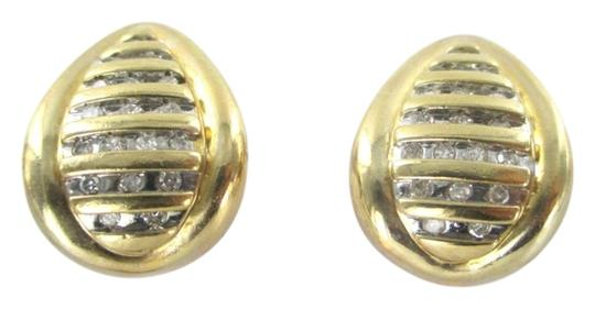 Other 10KT YELLOW GOLD EARRINGS TEAR DROPS 36 DIAMONDS .36 CARAT 6.2 GRAMS SOLID FINE
