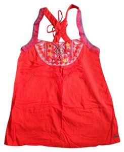 Roxy Festival Mexican Embroidered Top Bright orange