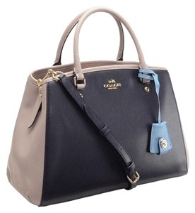 Coach Purse Colorblock Blue Tote in Navy Blue, Sky Blue, Taupe