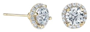 Avi and Co 2.26 cttw Round Brilliant Cut Diamond Halo Stud Earrings G-H/SI 14K Yellow Gold