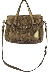 Coach Convertible Snakeskin Leather Satchel in SV/White/Grey