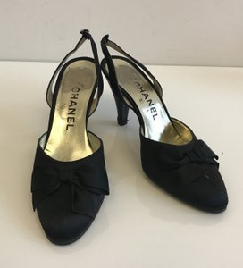 Chanel Sling Back Bow Satin Black Pumps