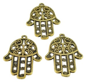 LB 35x25mm Yoga Charms Antique Gold Hand Of Buddha Brass Charms