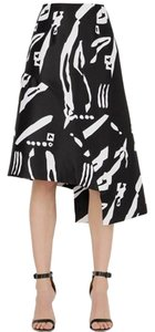 C/meo Collective Print High Waist Asymmetric Modern Minimalist Mini Skirt White Multi