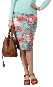 Boden Pencil Cotton Skirt green pink white multi