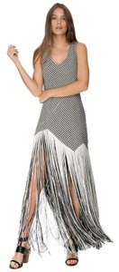 Asilio Fitted Edgy Minimalist Fringe Flapper Dress