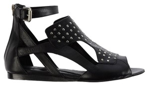Neil Barrett Leather Studded Cut-out Black Sandals