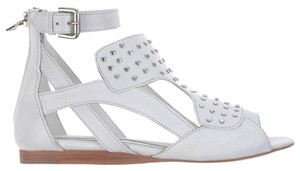 Neil Barrett Leather Studded Cut-out Open Toe Ankle Strap White Sandals
