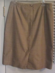 Evan Picone Skirt tan brown plaid