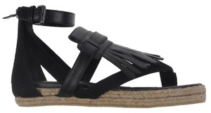 Neil Barrett Leather Open Toe Suede Espadrille Ankle Strap Black Sandals