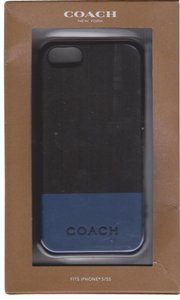 Coach Coach Camden Leather Charcoal and Marine Blue Case Cover iPhone 5/5S