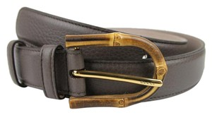 Gucci GUCCI New Women's Gray Leather Belt w/Bamboo Buckle 95/38 322954 2137