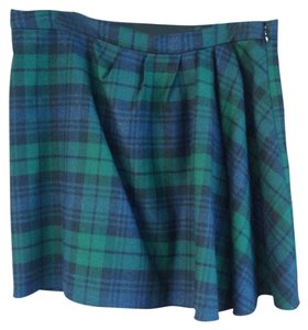 J.Crew Plaid Wool Ruched Skirt Green/Blue