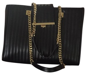 bebe Tote in Black With Gold Chains