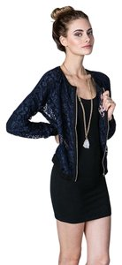 Finders Keepers Lace Let Love Rule Tops Navy Blue Jacket