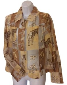 Erin London Vintage Animal Print Top tan, brown, cream and white