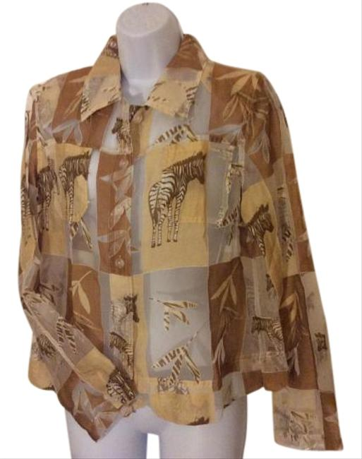 Erin London Vintage Animal Print Sheer Overtop Top tan, brown, cream and white