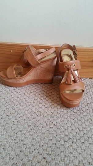 Coach tan leather with cork wedge Wedges