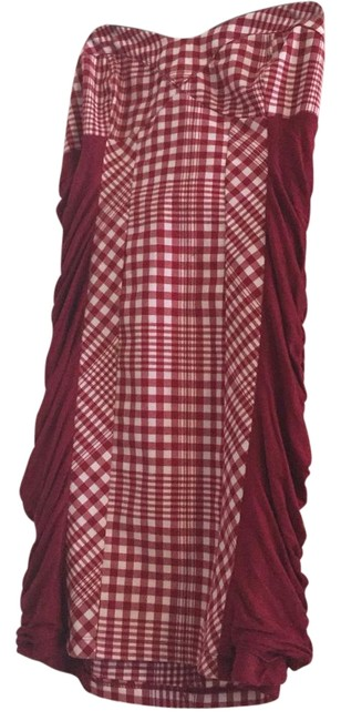 Item - Red and White Above Knee Short Casual Dress Size 8 (M)