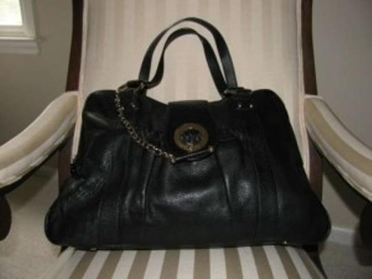 Charles David Leather Gold Fittings Slouchy Roomy Tote in Black