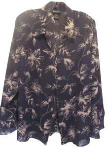 Lane Bryant Top Navy w/ tan print