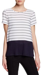 French Connection Striped Color-blocking Top white