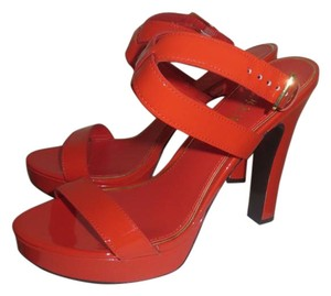 Lauren Ralph Lauren Patent Leather Strappy Crisscross Strap Ankle Strap Orange Platforms