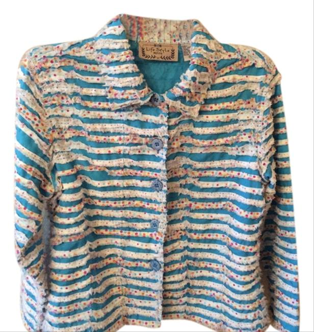 Life Style Vintage Casual Button Down Shirt Teal Blue and white plus multi polka dots