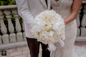 Silk Flowers Bridal Bouquet Package- Ivory White Pearls And Gold Ribbon