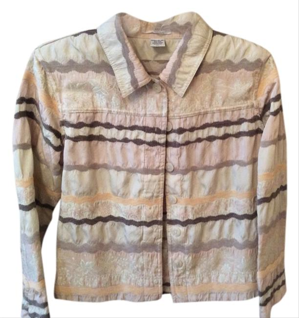 Erin London Vintage Over Earthtone Button Down Shirt Pale green, greens and beige