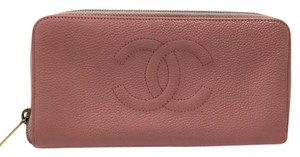 Chanel Chanel Pink Leather CC Embroidered Caviar Zip Up Accordion Wallet