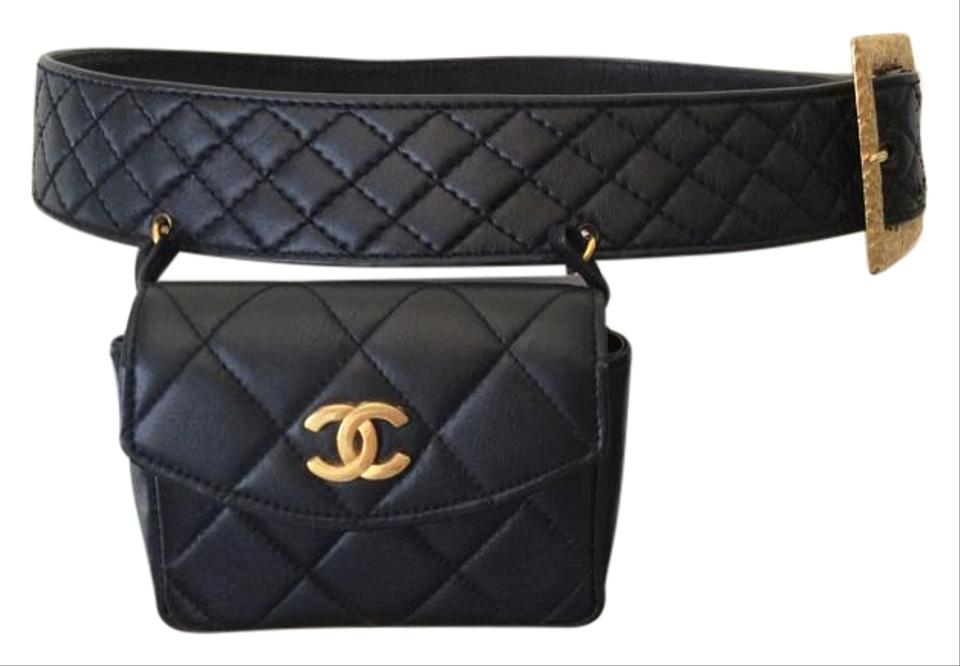 776e31aebe3b Chanel Bag Rare Vintage Mini Fanny Pack Belt For Waist Black Leather ...