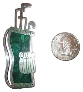 Vintage Golf Taxco Sterling Silver Pin Malachite Inlay Golfbag Mexico 22g Superb