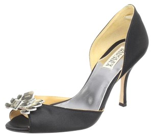 Badgley Mischka Satin Leather Peep Toe Crystal Black Pumps