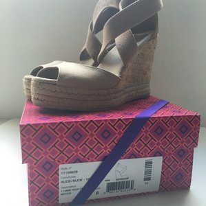 Tory Burch 115mm Peep-toe Cork Wedge Nude Wedges
