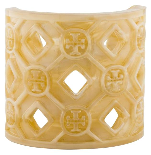 Item - Cream Horn Perforated Resin Logo Cuff Bracelet