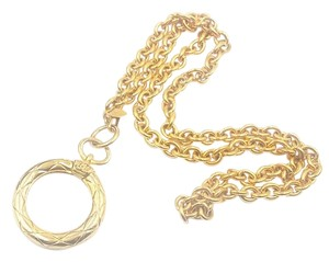 Chanel Vintage Gold Plated Large Magnify Glass Classic Chain Necklace