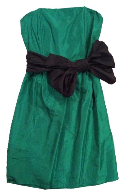Zara Cocktail Emerald Black Bow Dress