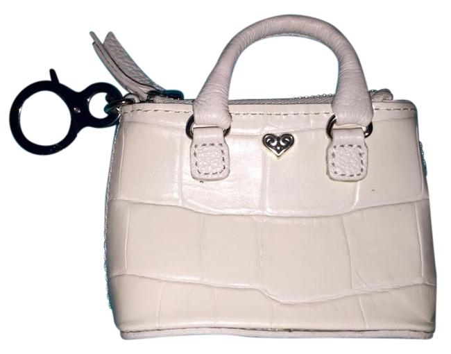 Item - B Wishes Mini Me Coin Purse From The Wishes Collection Pearl with Silver Swirl Heart Leather Wristlet