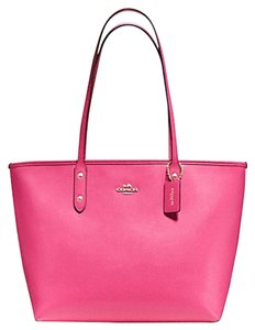 Coach Zip Top Leather Casual Tote in pink